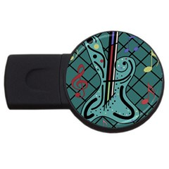 Blue guitar USB Flash Drive Round (1 GB)