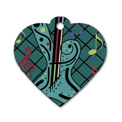 Blue guitar Dog Tag Heart (One Side)