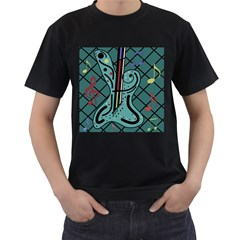 Blue guitar Men s T-Shirt (Black)