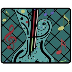 Blue guitar Fleece Blanket (Medium)
