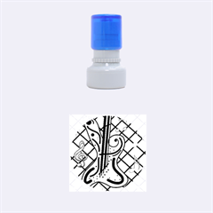 Blue guitar Rubber Round Stamps (Small)