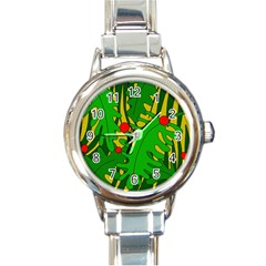 In the jungle Round Italian Charm Watch