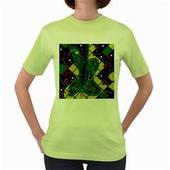 Playful guitar Women s Green T-Shirt