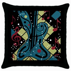 Playful guitar Throw Pillow Case (Black)