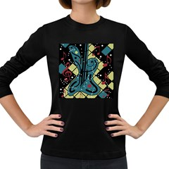 Playful guitar Women s Long Sleeve Dark T-Shirts