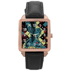 Playful guitar Rose Gold Leather Watch