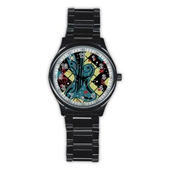 Playful guitar Stainless Steel Round Watch