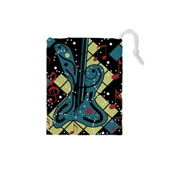 Playful guitar Drawstring Pouches (Small)