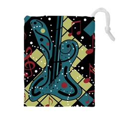 Playful guitar Drawstring Pouches (Extra Large)