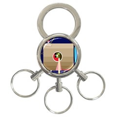 Decorative abstraction 3-Ring Key Chains