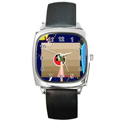 Decorative abstraction Square Metal Watch