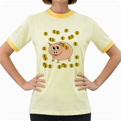 Piggy bank  Women s Fitted Ringer T-Shirts