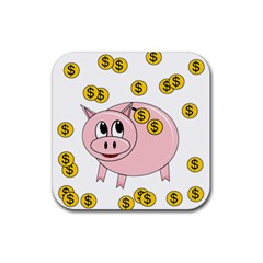 Piggy bank  Rubber Square Coaster (4 pack)