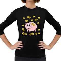 Piggy bank  Women s Long Sleeve Dark T-Shirts