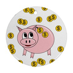 Piggy bank  Round Ornament (Two Sides)