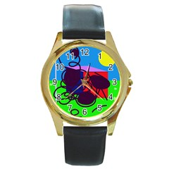 Sunny day Round Gold Metal Watch