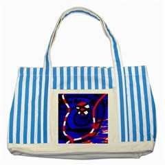 Follow Me Striped Blue Tote Bag