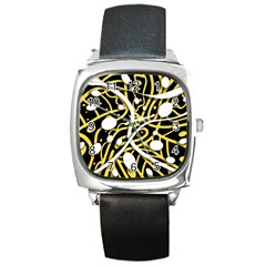 Yellow movement Square Metal Watch