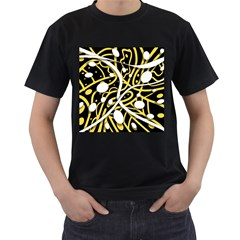 Yellow movement Men s T-Shirt (Black) (Two Sided)