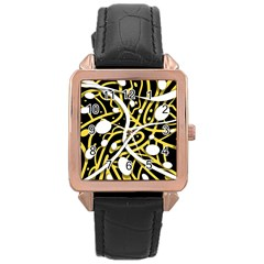 Yellow movement Rose Gold Leather Watch
