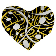 Yellow movement Large 19  Premium Flano Heart Shape Cushions