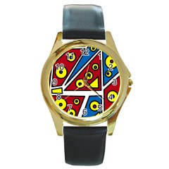 Life is beautiful Round Gold Metal Watch
