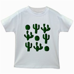 Cactuses pattern Kids White T-Shirts