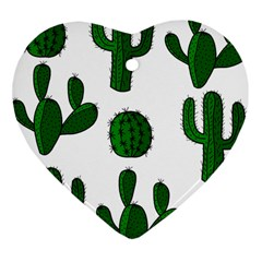 Cactuses pattern Heart Ornament (2 Sides)