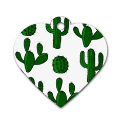 Cactuses pattern Dog Tag Heart (Two Sides)