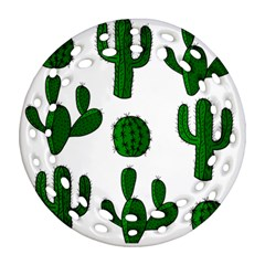 Cactuses pattern Round Filigree Ornament (2Side)