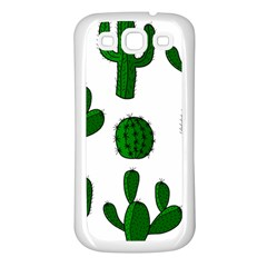 Cactuses pattern Samsung Galaxy S3 Back Case (White)