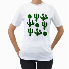Cactuses pattern Women s T-Shirt (White)