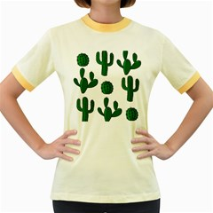Cactuses pattern Women s Fitted Ringer T-Shirts