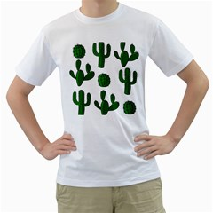 Cactuses pattern Men s T-Shirt (White) (Two Sided)