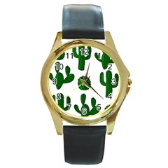 Cactuses pattern Round Gold Metal Watch