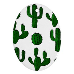 Cactuses pattern Oval Ornament (Two Sides)