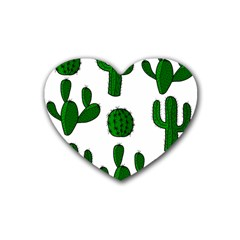 Cactuses pattern Rubber Coaster (Heart)