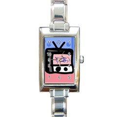 Old television Rectangle Italian Charm Watch