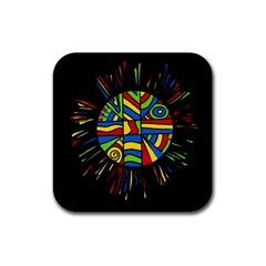 Colorful bang Rubber Square Coaster (4 pack)