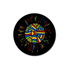 Colorful bang Rubber Round Coaster (4 pack)