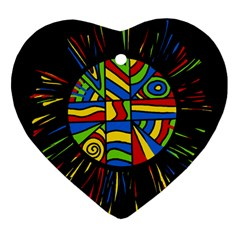 Colorful bang Heart Ornament (2 Sides)