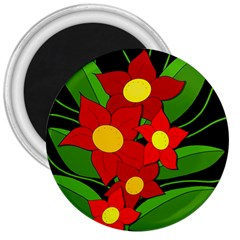 Red flowers 3  Magnets