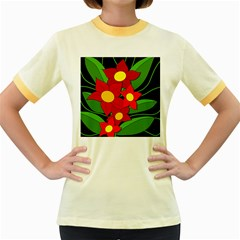 Red flowers Women s Fitted Ringer T-Shirts