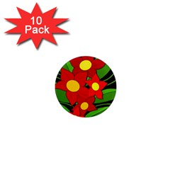Red flowers 1  Mini Magnet (10 pack)