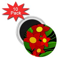 Red flowers 1.75  Magnets (10 pack)