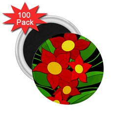 Red flowers 2.25  Magnets (100 pack)