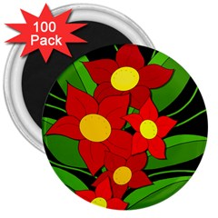 Red flowers 3  Magnets (100 pack)