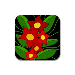 Red flowers Rubber Square Coaster (4 pack)