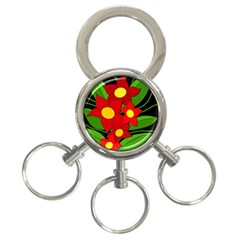 Red flowers 3-Ring Key Chains