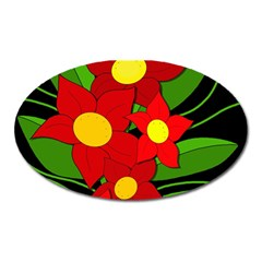 Red flowers Oval Magnet